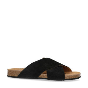 suède slippers zwart