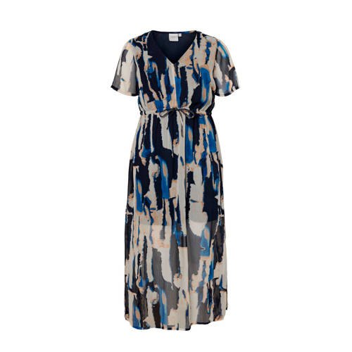 JUNAROSE jurk met all over print blauw/beige