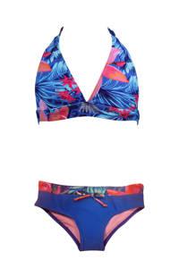 DJ Dutchjeans halter bikini met all over print blauw, Blauw/koraalrood