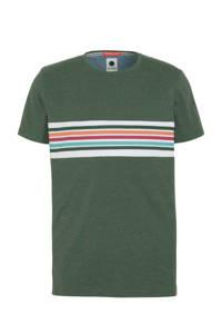 J.C. Rags gestreept T-shirt groen/wit/roodblauw, Groen/wit/roodblauw