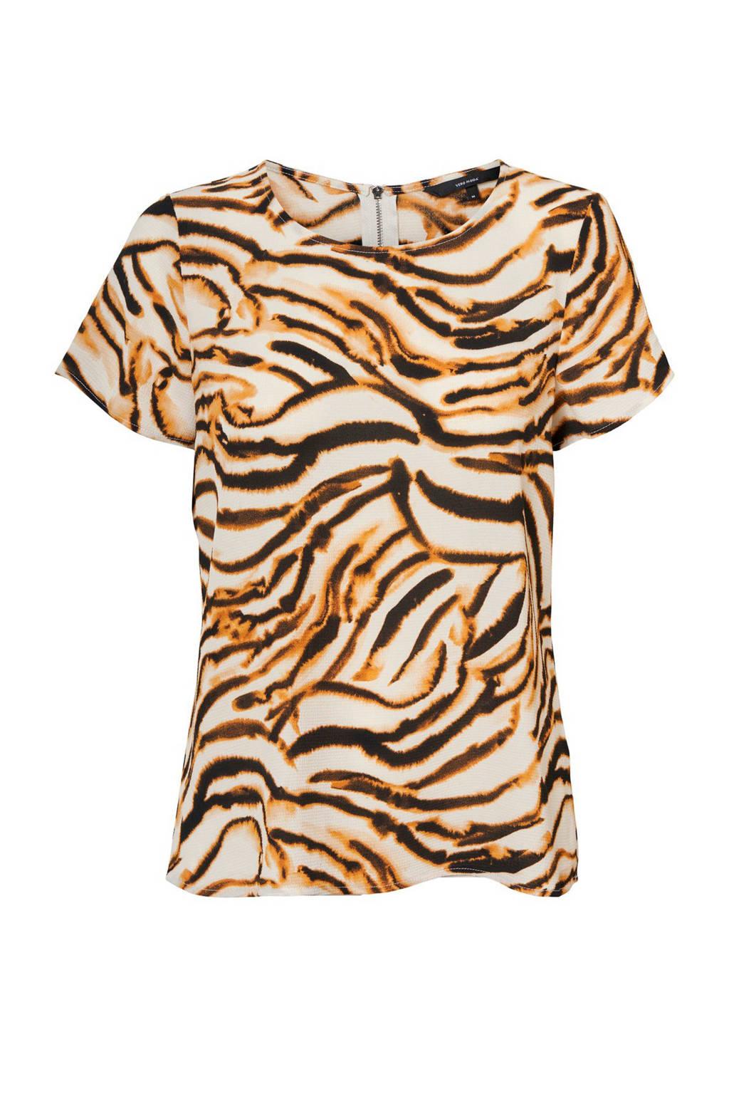 VERO MODA T-shirt met zebraprint bruin, Bruin