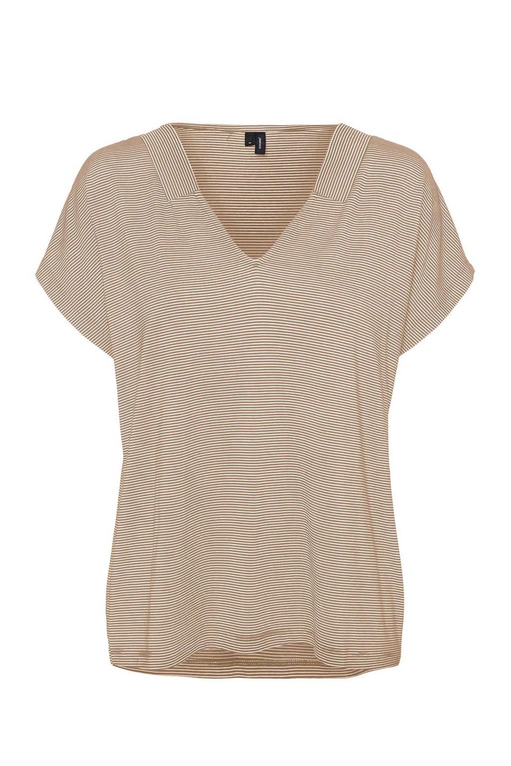 VERO MODA gestreept T-shirt bruin/wit, Bruin/wit