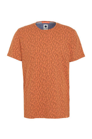 T-shirt met all over print oranje/zwart