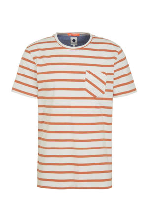 gestreept T-shirt wit/oranje