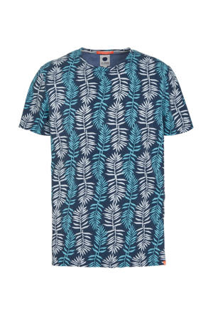 T-shirt met all over print turquoise/blauw/wit