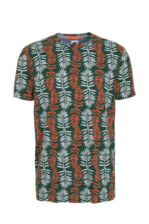 T-shirt met all over print groen/oranje/wit