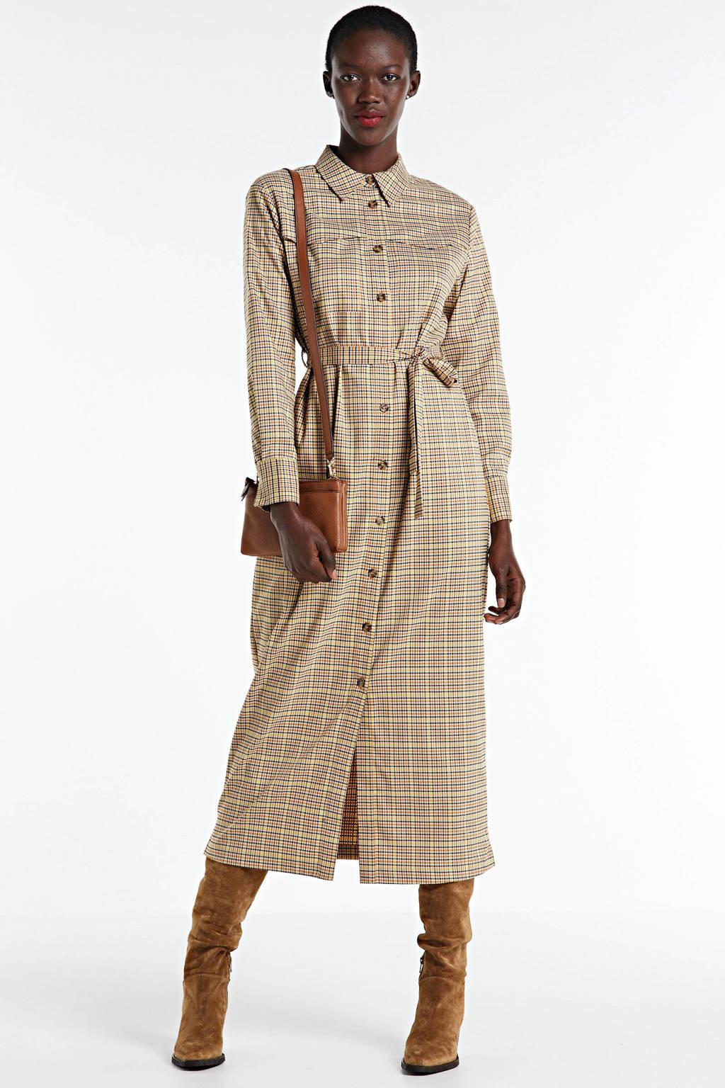 Another-Label geruite maxi blousejurk Caiza beige, Beige