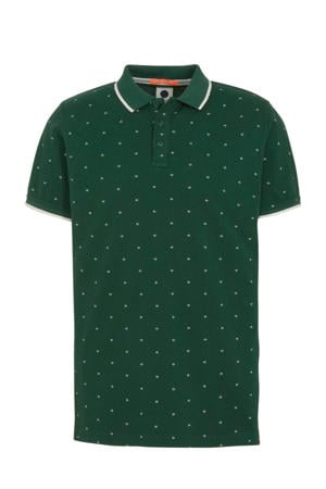 regular fit polo met all over print donkergroen/wit