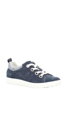 suède sneakers blauw