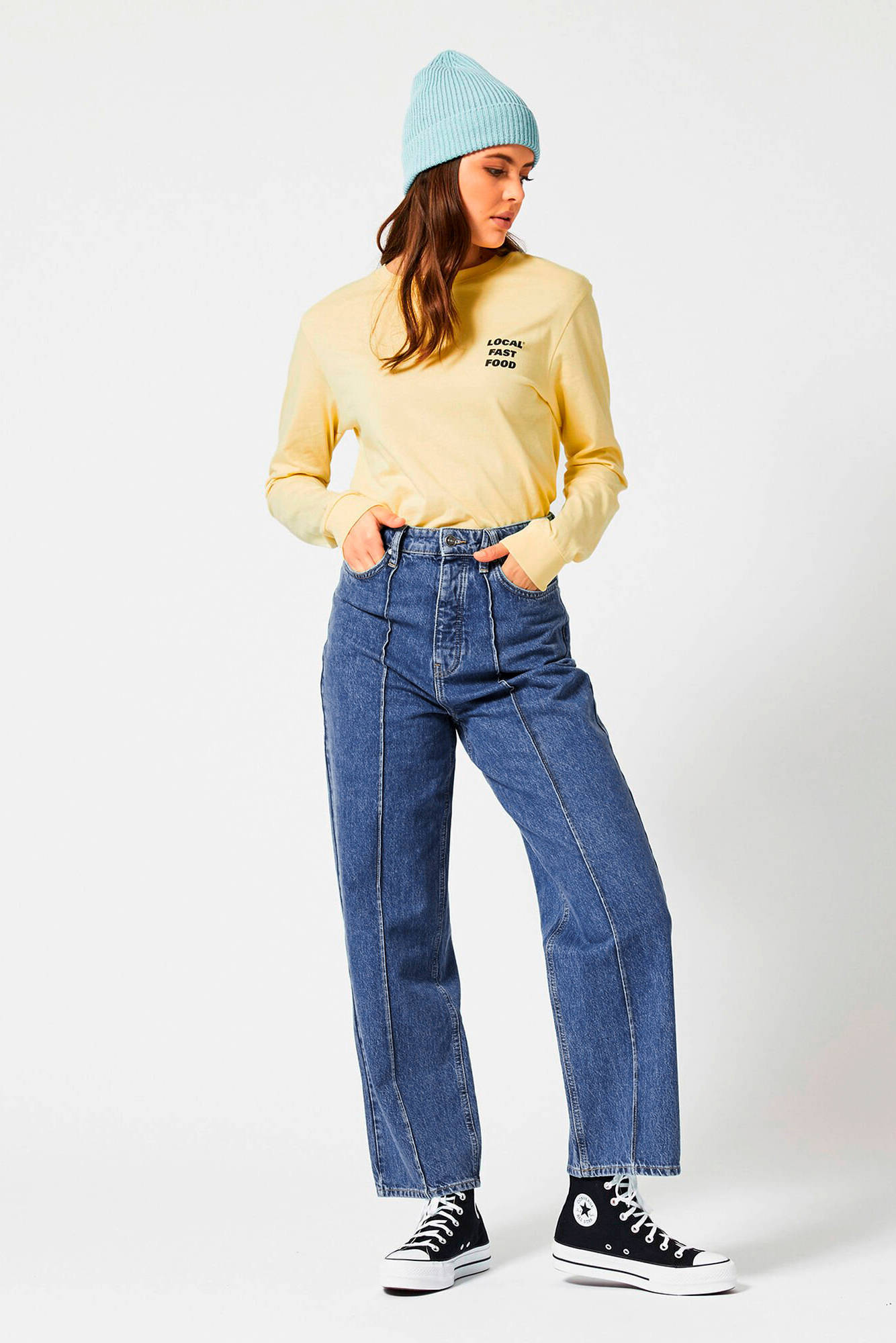 America Today high waist straight fit jeans vintage blue