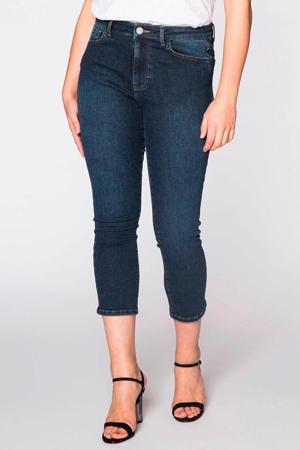 high waist skinny capri jeans dark denim