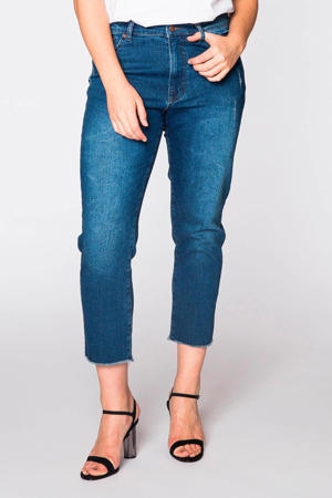 high waist skinny capri jeans blauw