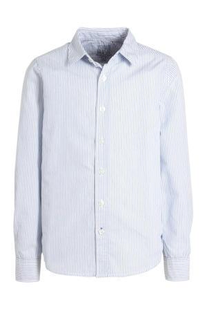 gestreept overhemd van biologisch katoen wit/blauw