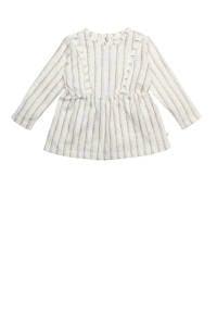 Moodstreet Petit gestreepte baby jurk Olive van biologisch katoen gebroken wit, Gebroken wit
