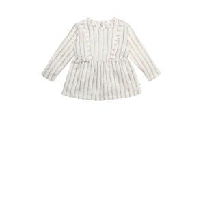 gestreepte baby jurk Olive van biologisch katoen gebroken wit