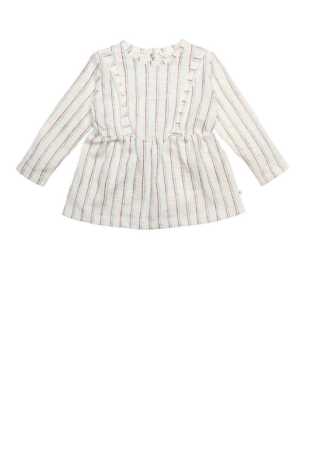 Moodstreet Petit gestreepte jurk Olive gebroken wit, Gebroken wit