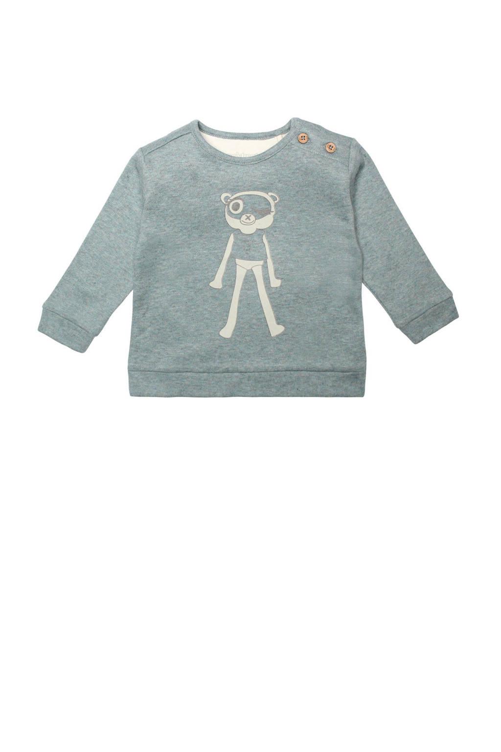 Moodstreet Petit baby gemêleerde sweater Maddy van biologisch katoen groen/wit, Groen/wit