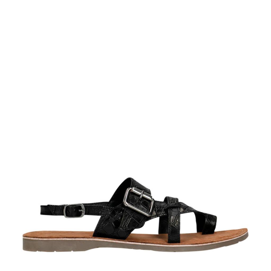 Manfield   leren sandalen crocoprint zwart, Zwart