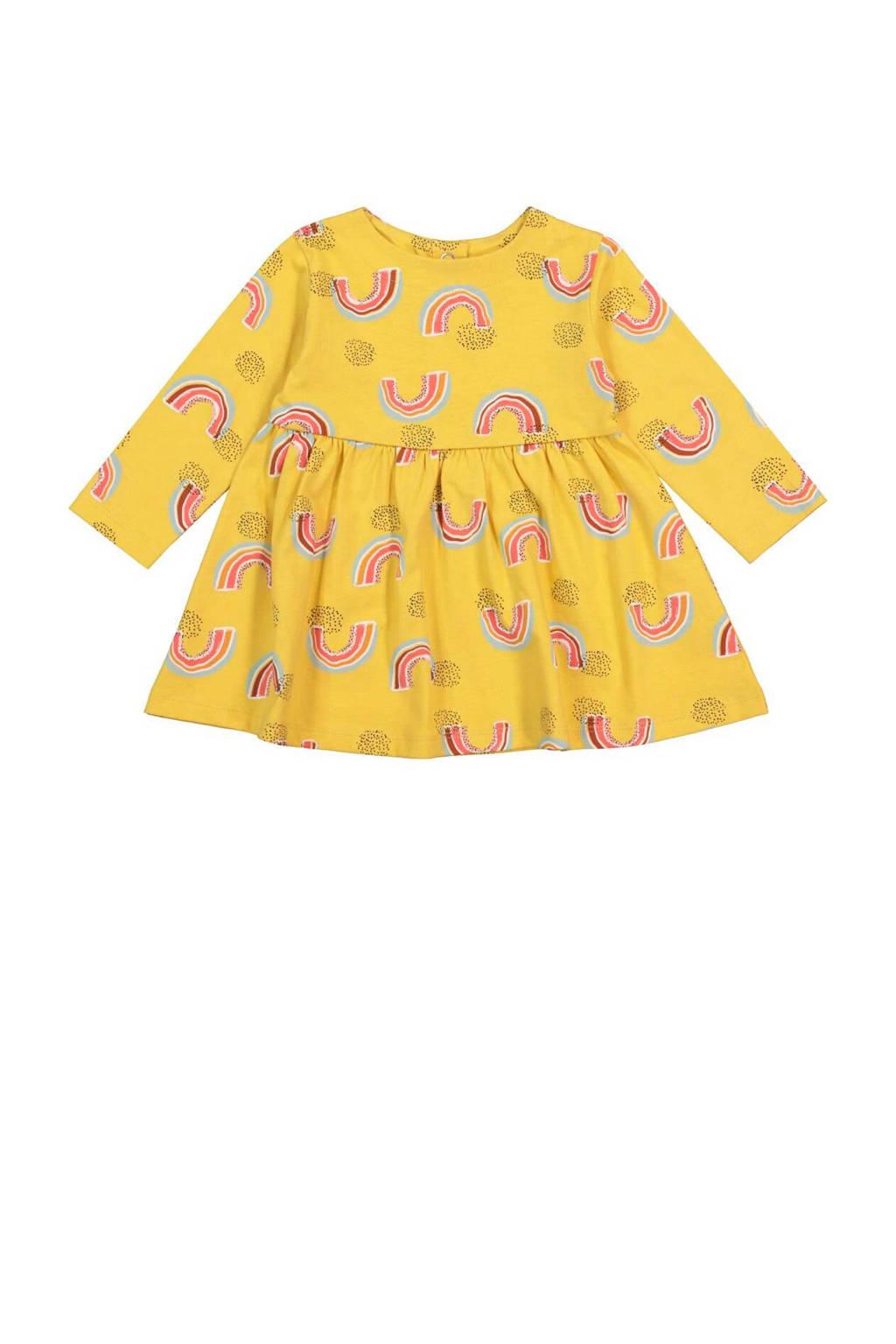 HEMA A-lijn jurk met all over print en plooien geel/multi, Geel/multi