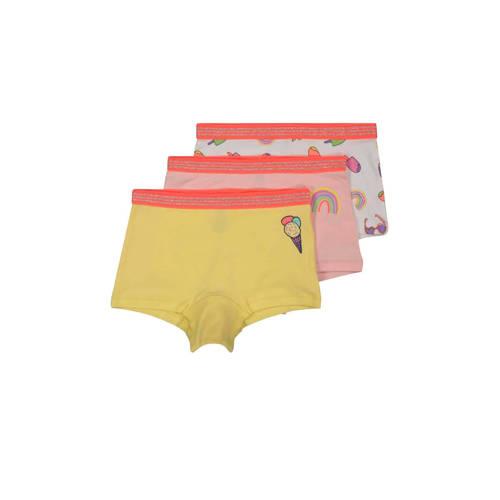 HEMA short - set van 3 geel/roze/ecru