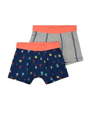 boxershort - set van 2 donkerblauw/lichtgrijs