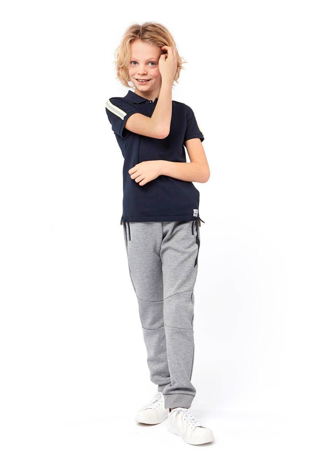 HEMA broek met zijstreep grijs melange/donkerblauw, Grijs melange/donkerblauw