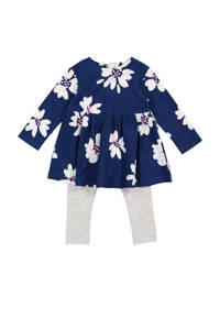 HEMA gebloemde jersey jurk + legging donkerblauw, Donkerblauw