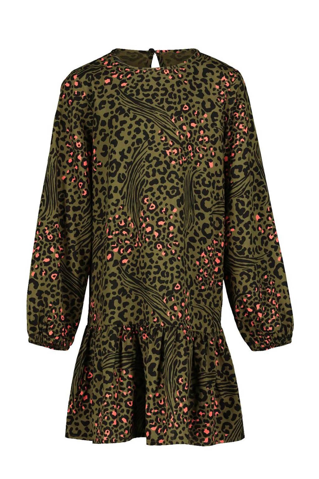 HEMA jurk Deloris met panterprint groen/zwart/roze, Groen/zwart/roze