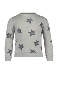 HEMA sweater met sterren grijs melange, Grijs melange
