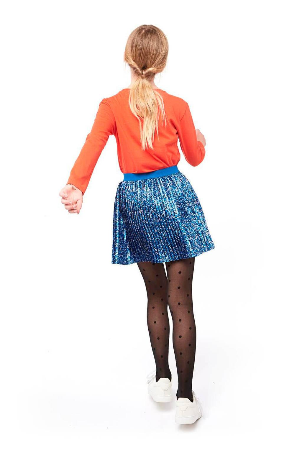 HEMA gebloemde rok blauw/multicolor