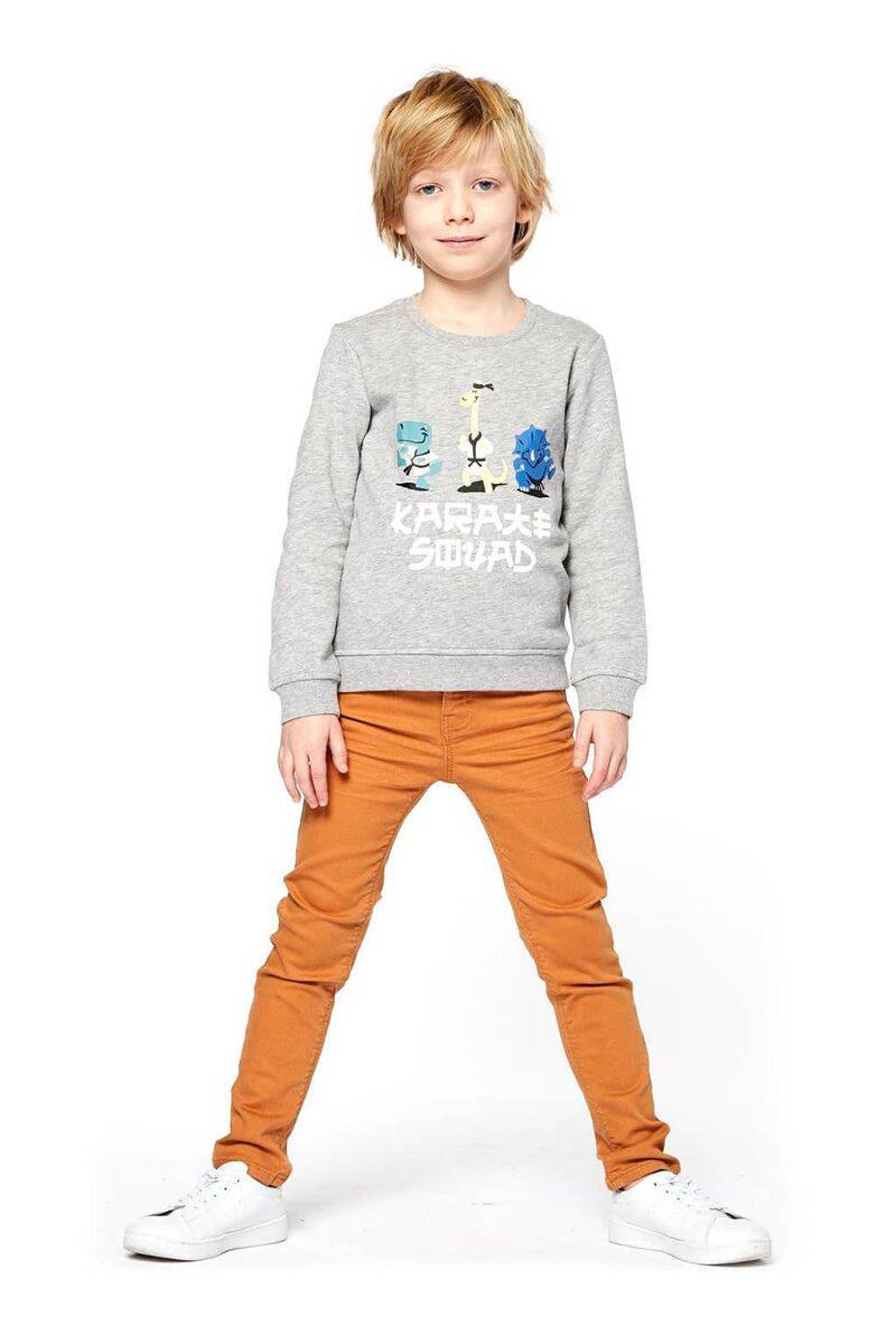 HEMA sweater Siep met printopdruk grijs melange/wit/blauw, Grijs melange/wit/blauw