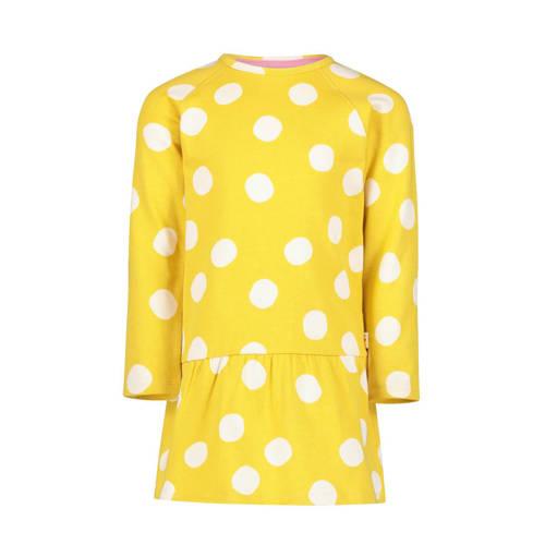 HEMA jersey jurk met stippen en plooien geel