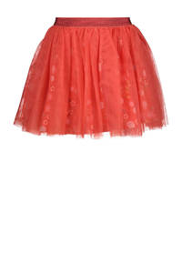 HEMA rok Kina van tule met all over print koraalrood, Koraalrood