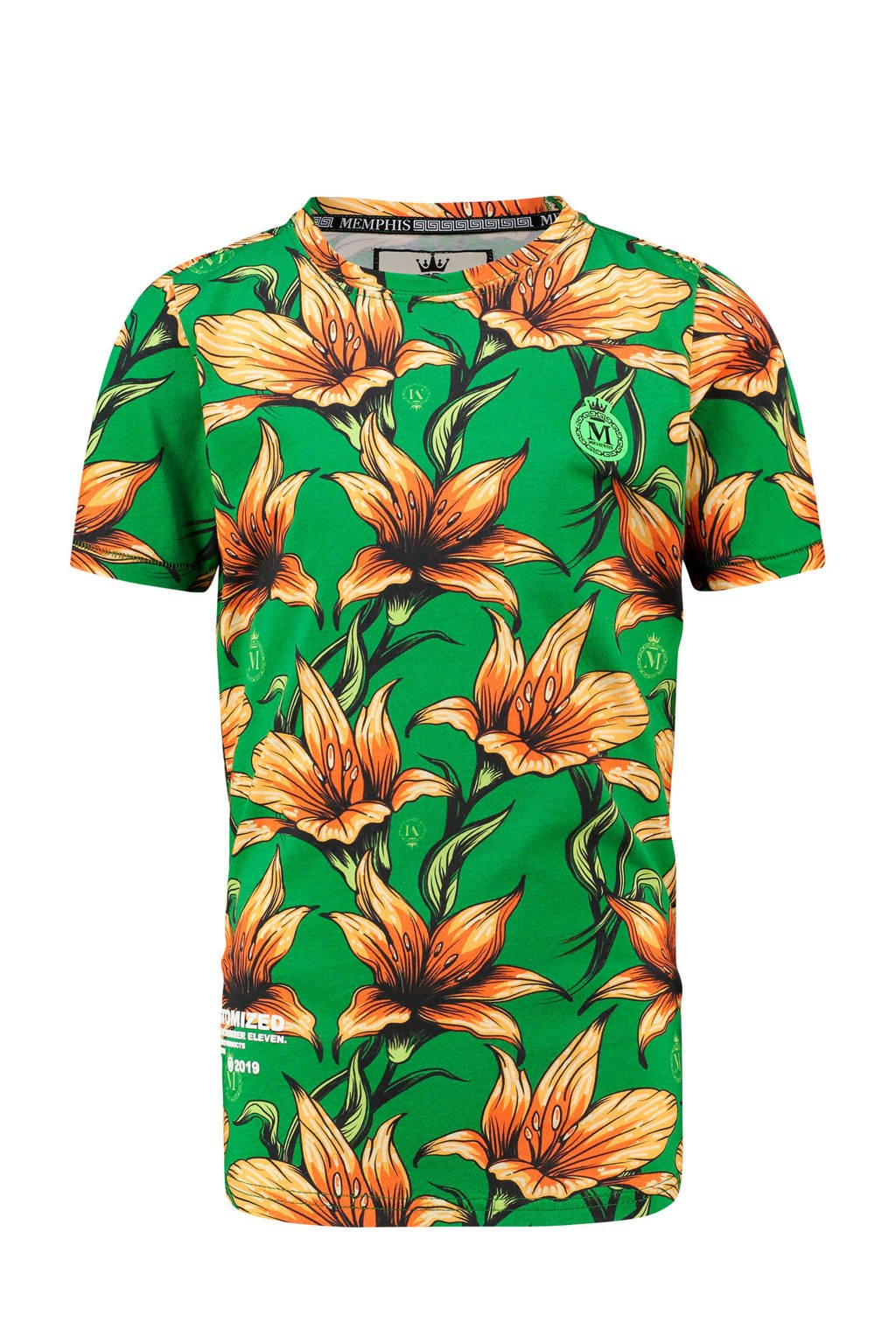 Vingino Memphis Depay T-shirt Halled met all over print frog green, Groen/geel