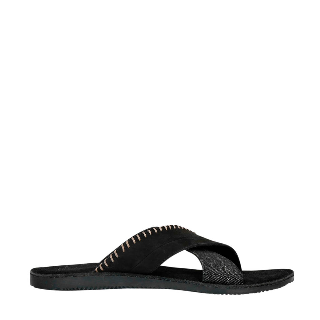 Sacha   nubuck slippers zwart, Zwart