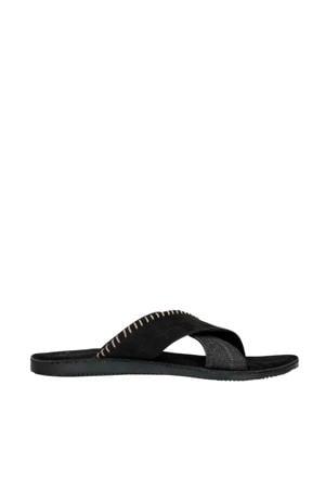 nubuck slippers zwart