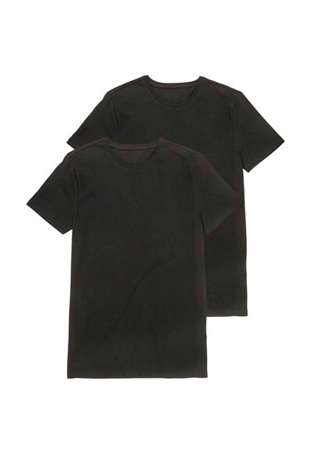 HEMA T-shirt (set van 2) zwart, Zwart