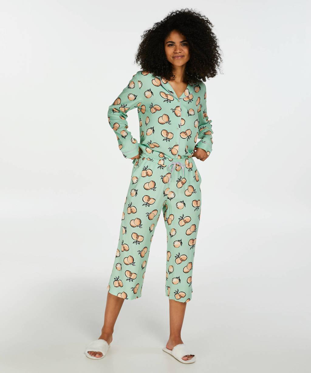 Hunkemöller pyjamabroek Woven met all over print groen / oranje, Groen