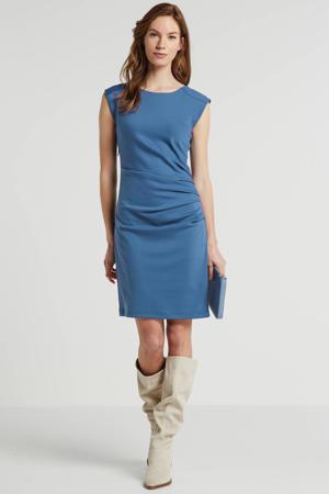 jurk met plooien blauw