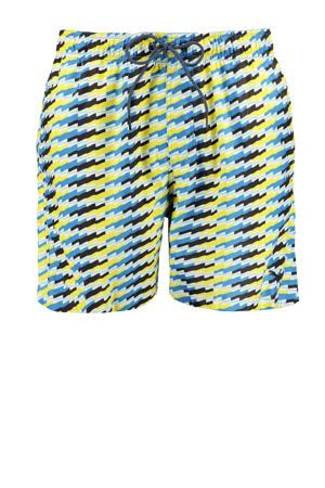 zwemshort met all over print blauw/geel