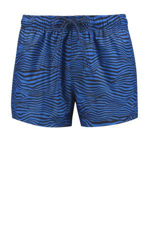 zwemshort met all over print blauw/zwart