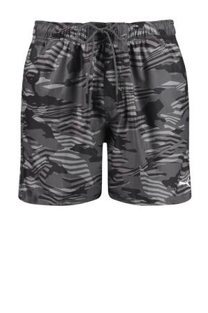 zwemshort met all over print zwart/grijs