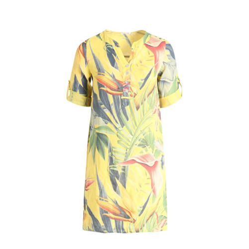 Paprika linnen jurk met bladprint geel