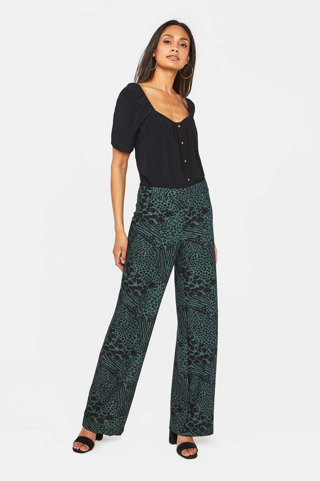 WE Fashion high waist loose fit broek met all over print groen/zwart, Groen/zwart