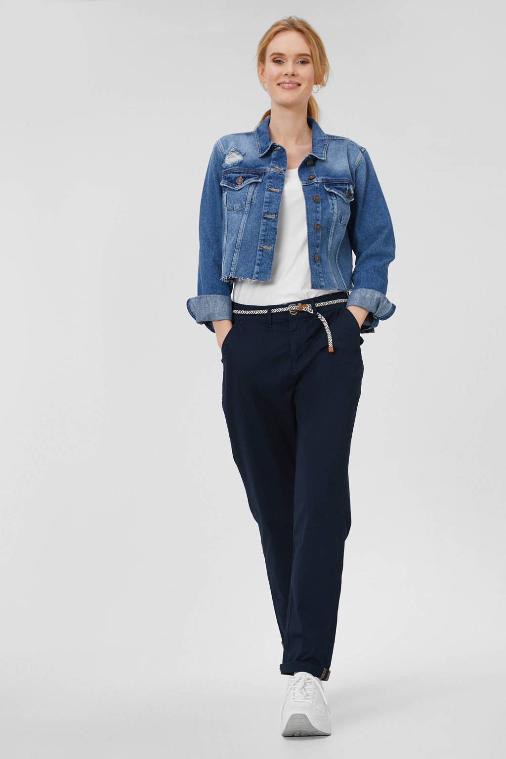 C&A Yessica regular fit cropped chino donkerblauw, Donkerblauw