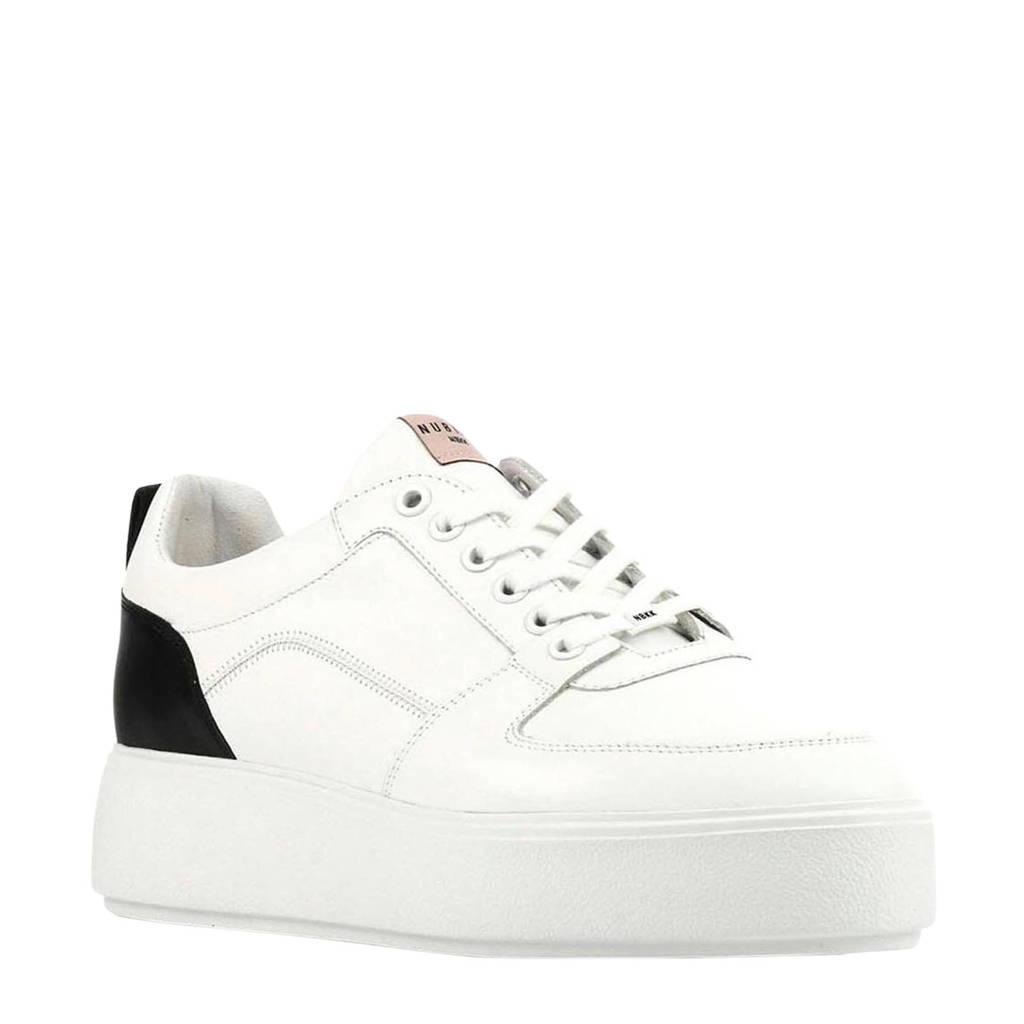 Nubikk Elise Blush  leren plateau sneakers wit, Wit/zwart