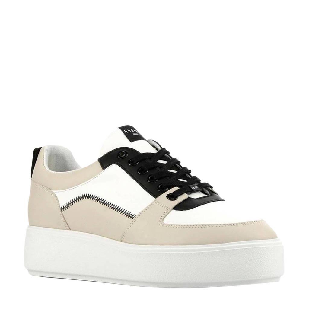 Nubikk Elise Blush  leren plateau sneakers beige, Beige/wit/zwart