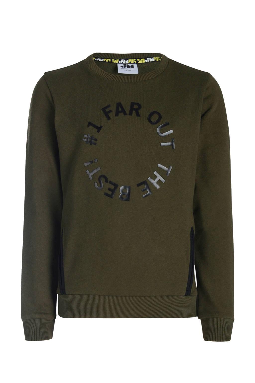 Mitch sweater met tekst army groen/zwart, Army groen/zwart