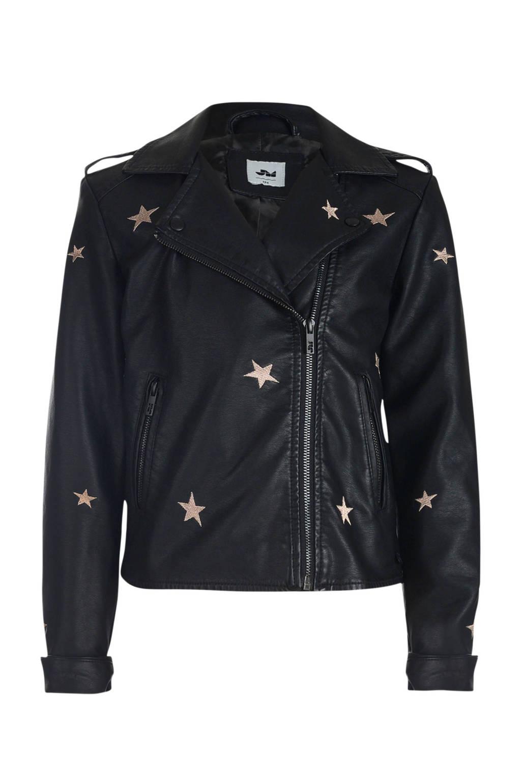 imitatieleren jasje met all over print en borduursels zwart, Zwart