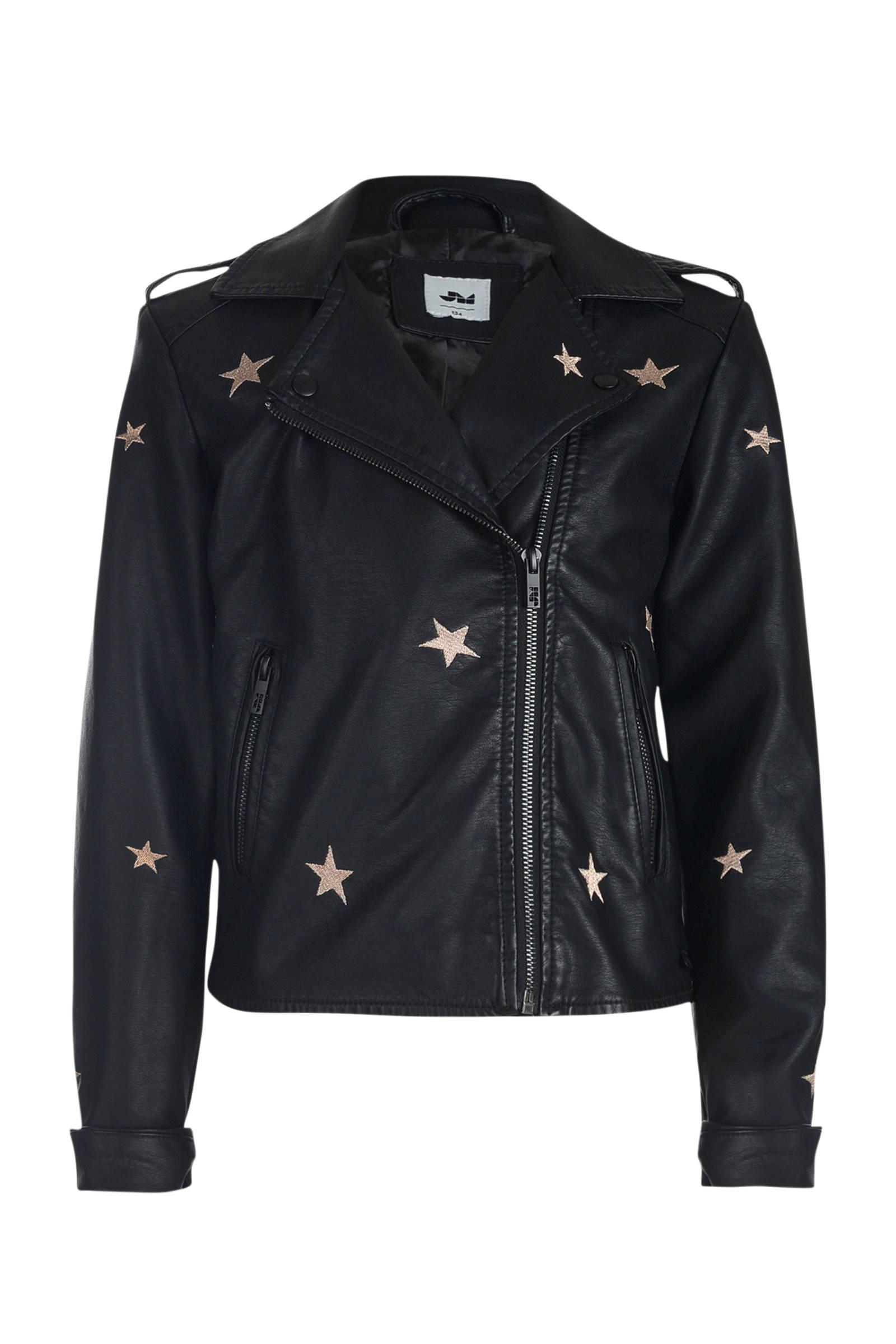 imitatieleren jasje met all over print en borduursels zwart